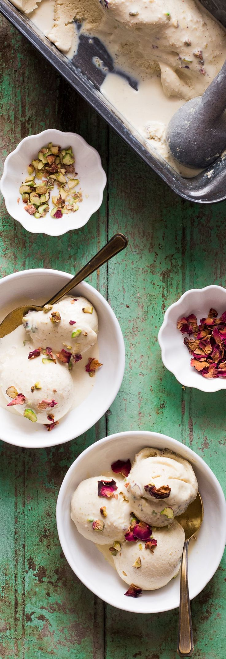 Easy thandai ice cream recipe for the perfect holi party! No churn, eggless and does not need an ice cream maker. Includes recipe to make thandai powder at home too.