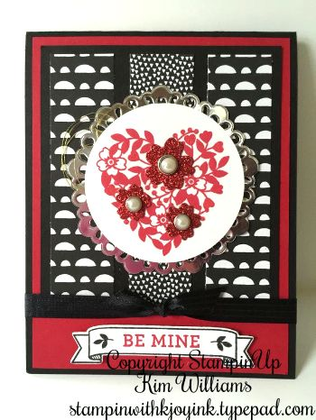 Stampin Up Valentine set from the New Occasions Catalog 2016. Bloomin' Love and matching framelits Bloomin Heart. Any chance I get to use red glimmer paper, I jump at it! Valentines is the perfect card ideas for the bling of Valentines Day. The metalic foil doilies make this card idea even more special for that special person you love. IMG_5805