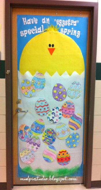 Cute Spring Chick And Eggs Classroom Door Decorating Idea