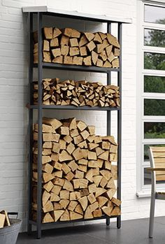stacked firewood wood on shelf - Google Search