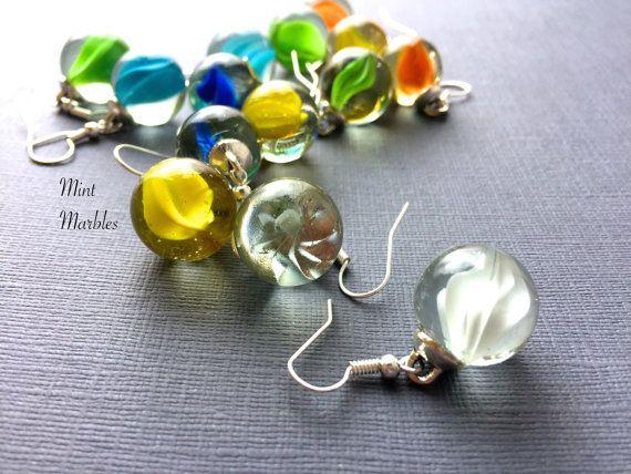 Marble Dangle Earrings. Green. Blue. Swirls. Unique by MintMarbles
