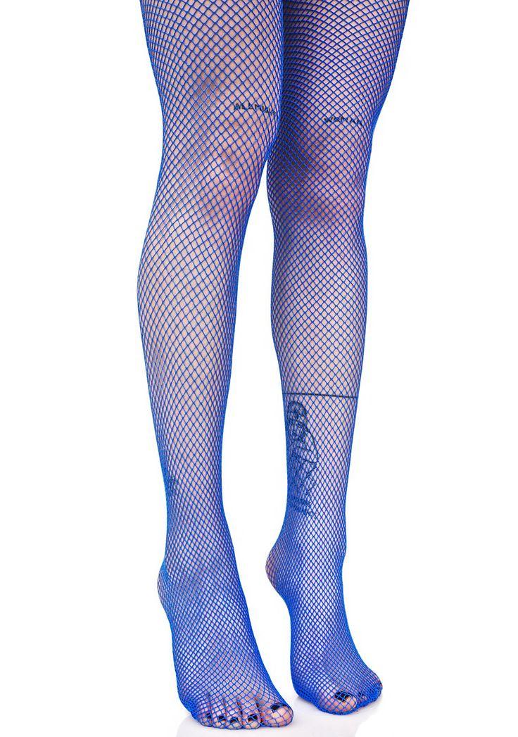 Blue fishnet tights - size L