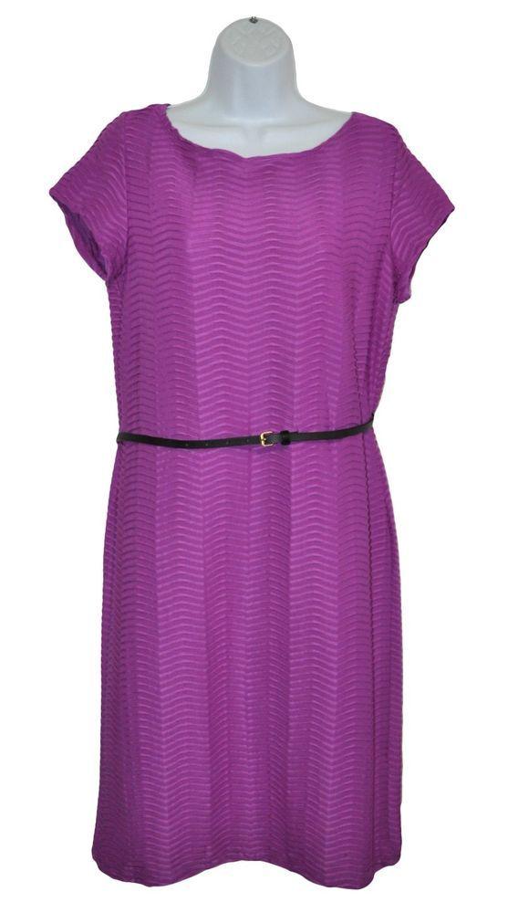 Shelby Palmer Womens Dress Purple Chevron Pleated Pattern Short Sleeve Size 14 #ShelbyPalmer