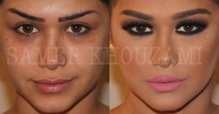 A preparação da pele, com primer e base, é o ponto de partida das maquiagens do libanês. Nessa transformação, fica evidente a pele bem trabalhada