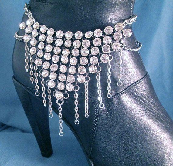 Grote kristallen mousserend Strass kettingen van zilver of goud BOOT schoen sieraden Boot Bling Boot armband of ketting Biker Motorcycle westerse