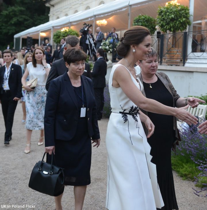 Catherine, Duchess of Cambridge attends the Queen's Birthday Garden Party at the Orangery, Lazienki Park on day 1 of the official visit to Poland on July 17, 2017 in Warsaw, Poland.