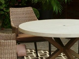 Add A Unique And Stylish Look To Your Outdoor Dining Experience With The  CANVAS Seabrooke Round Concrete Patio Dining Table