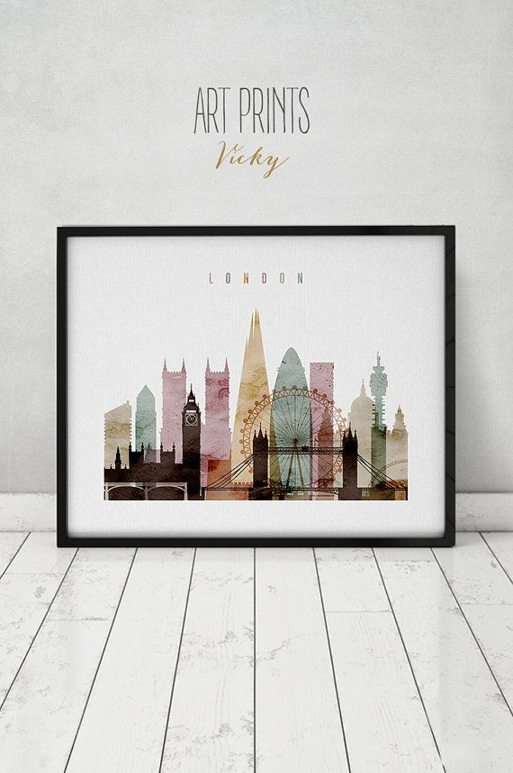 London watercolor print watercolor poster Wall by ArtPrintsVicky