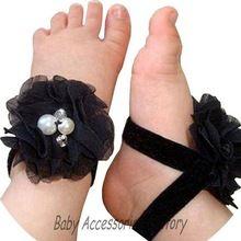 ( 2 par/lote ) 2015 Baby Girl pés descalços flores sandálias Artificial infantil pé pérola Chiffon flores acessórios sapatas da flor(China (Mainland))