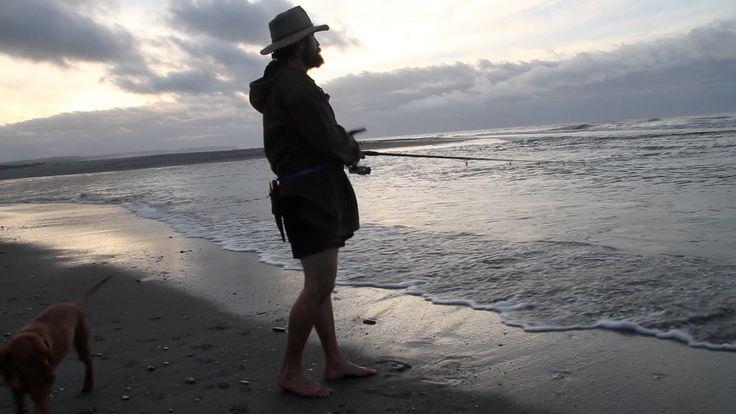 Fishing at Okarito Beach