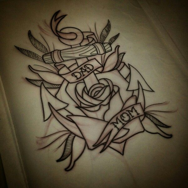 Mom dad rose anchor tattoo