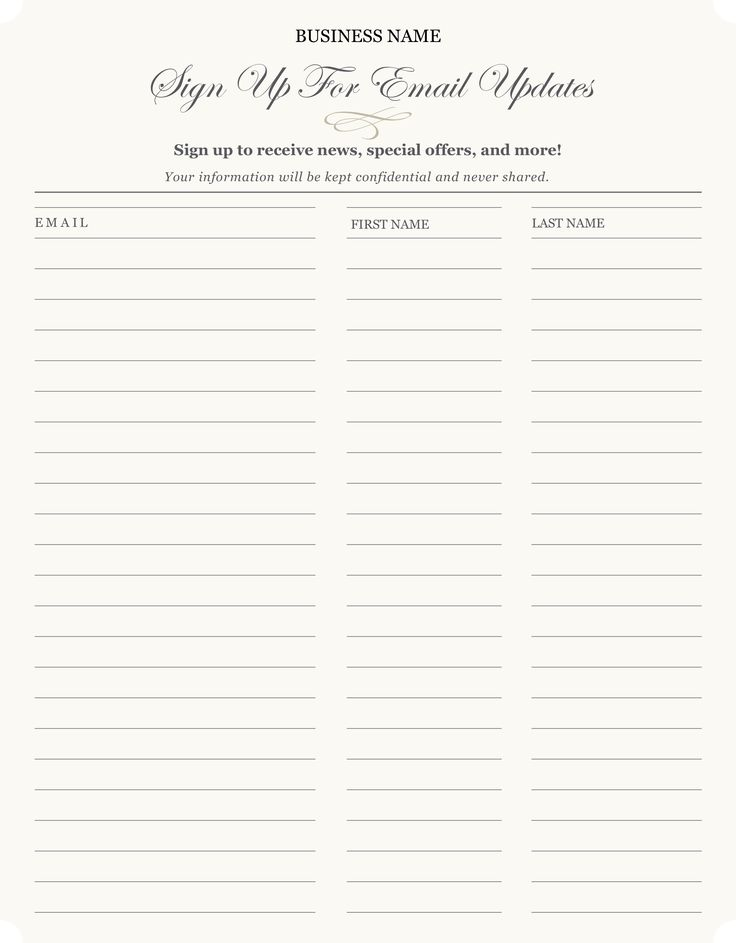 Free printable email signup sheet to help you grow your email list - more designs available at http://img.constantcontact.com/docs/pdf/Offline_List_Growth.pdf