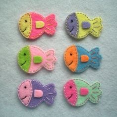 Handmade Fish Felt Applique mixed colors by TRPcreativedesign01