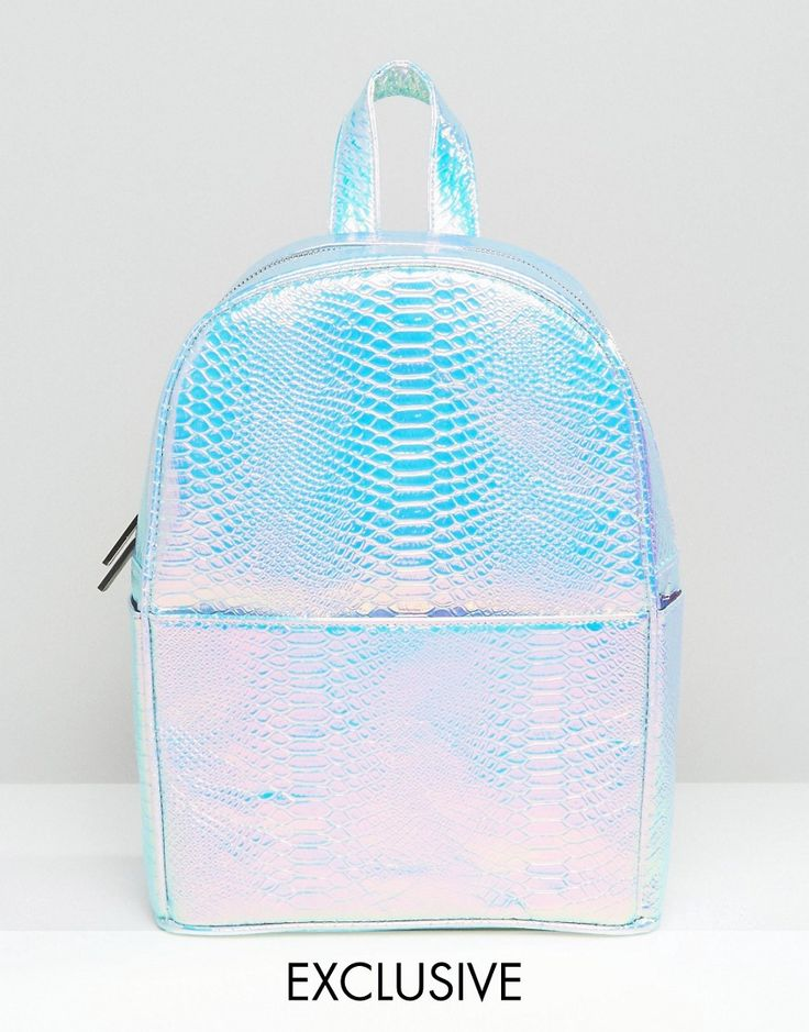 Image 1 of Skinnydip Exclusive Holographic Faux Snake Backpack