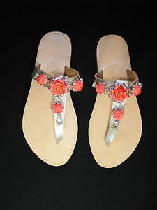 Hand made genuine Leather sandals UK size 6, roses with strass on silver