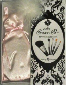 Beauty Strokes - Petite Evening Out/Wedding Brush Set, Pink by Beauty Strokes. $8.69. Perfect keepsake for the bride or as a gift. Set includes: All-Over Powder, All-Over Eye, Concealer/Liner, Lip, Eye Detailer. Complete Travel Cosmetic Brush Set. Manufactured by Dynasty. Beautiful & Petite Pink Evening Out/Wedding Dress is also a pouch to carry petite travel brushes. Beauty Strokes Evening Out Dress Set is a beautiful pink dress complete with a five piece brush se...