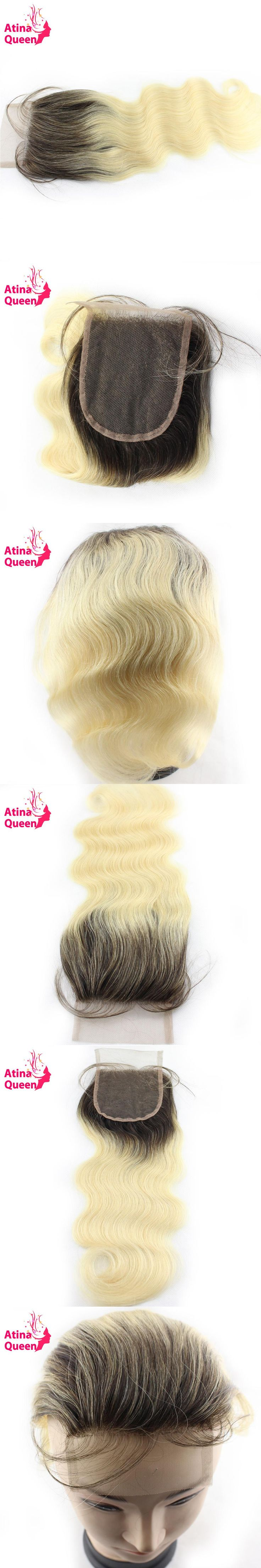Atina Queen 1b 613 Body Wave 4x4 Lace Closure with Baby Hair Products Dark Roots Blonde 100% Remy Ombre Human Hair Extensions