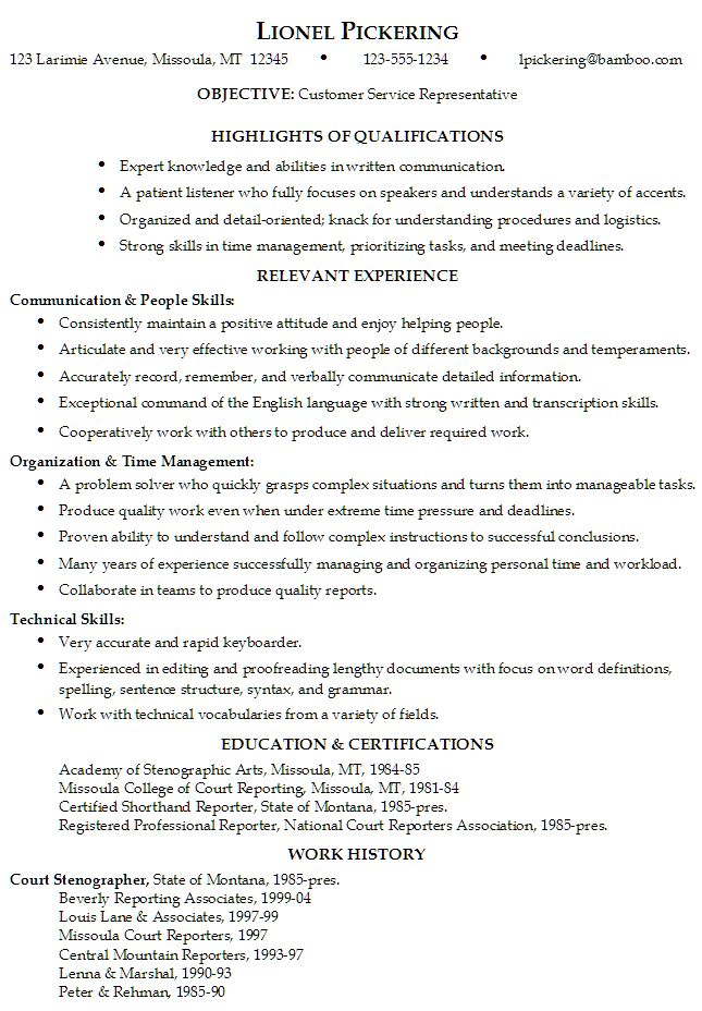 Skills On Customer Service Resume | Resume Was Written Or Critiqued By A  Member Of Susan  Skills And Qualifications Examples