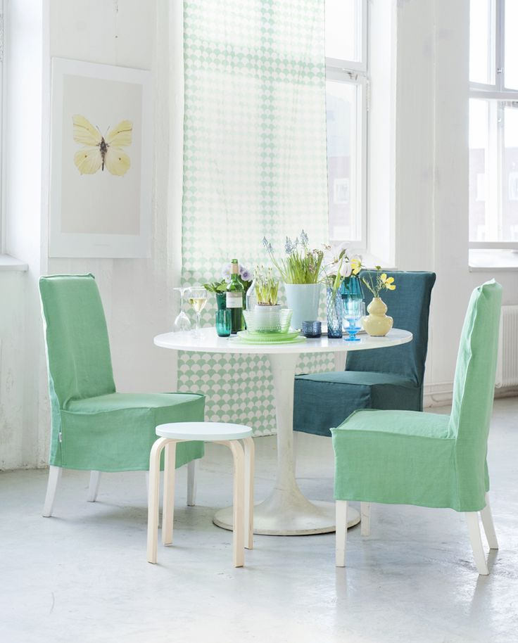 Gorgeous green for Spring! Henriksdal chair covers by Bemz, Loose Fit Urban Style, Brera Lino Verdigris by Designers Guild. www.bemz.com
