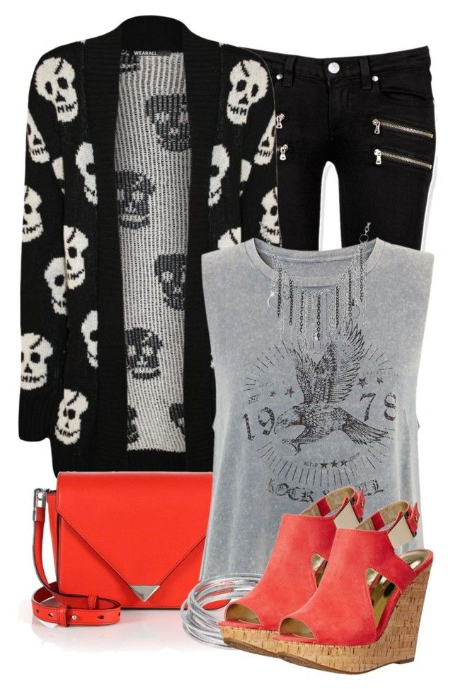 skulls by jazminonly on Polyvore featuring WearAll, Paige Denim, Carlos by Carlos Santana, Alexander Wang, Bling Jewelry and Worthington