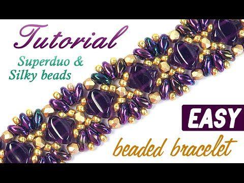 "Tutorial: Beaded bracelet ""Princess"" Superduo Silky beads / Браслет ""Принцесса"" из бисера Супердуо - YouTube"