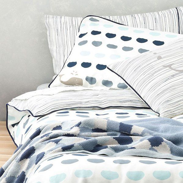 Young and contemporary! Sail away with our reversible whale watching quilt cover set. In blues and greys it will be a grea addition to your little boys room. Available in single and king single. Matching sheet sets also available.  Dimensions:  Single (140cm wide x 210cm long) King Single (180cm wide x 210cm long)  Set Includes: Doona cover & Pillowcase  Designed in Australia  Material 100% Organic Cotton  Care Instructions: Machine washable in warm water, Do not bleach, Do not ...