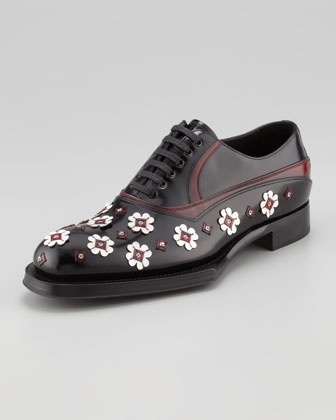 Runway Lace-Up With Flower Applique by Prada at Bergdorf Goodman.
