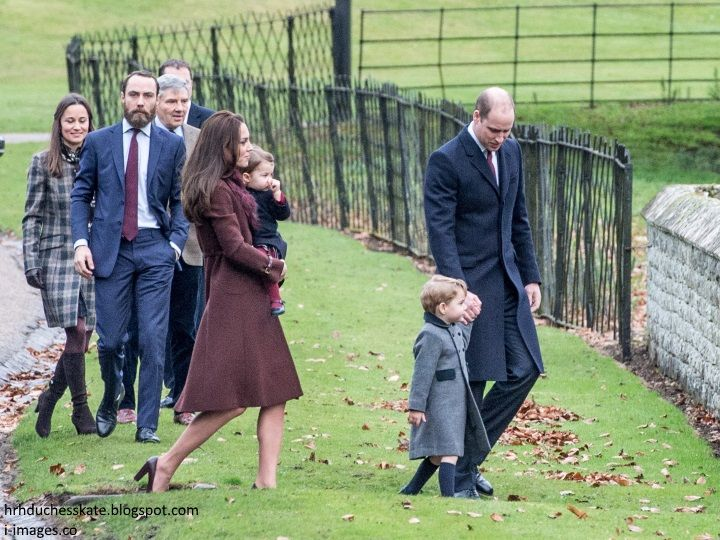 hrhduchesskate: Christmas Service, St Mark's, Englefield, December 25, 2016-Duke of Cambridge and Prince George, Duchess of Cambridge and Princess Charlotte, James, Pippa and Michael Middleton