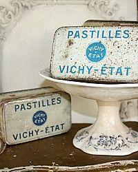 Vintage French Pastilles Vichy-Etat Candy Tin-antique, kitchen, storage, logenzes,blue,graphic,advertising,patina,shabby,