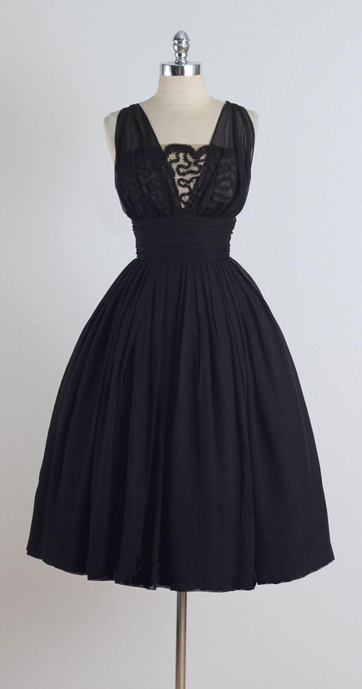 Vintage 1950s Miss Elliotte Black Chiffon Cocktail Dress