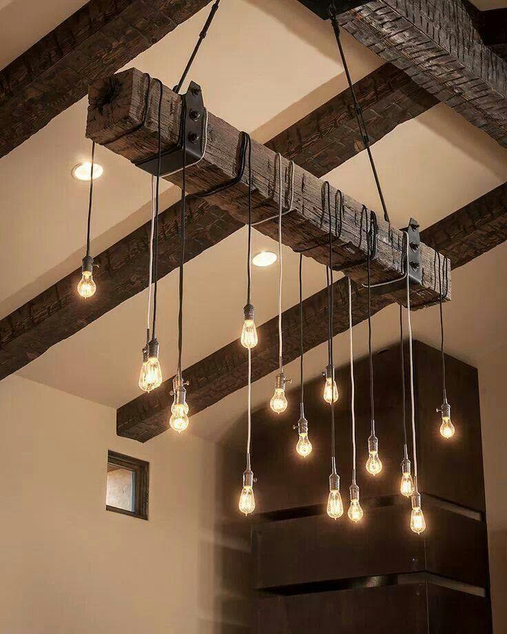 ...wood beam with pendant lights
