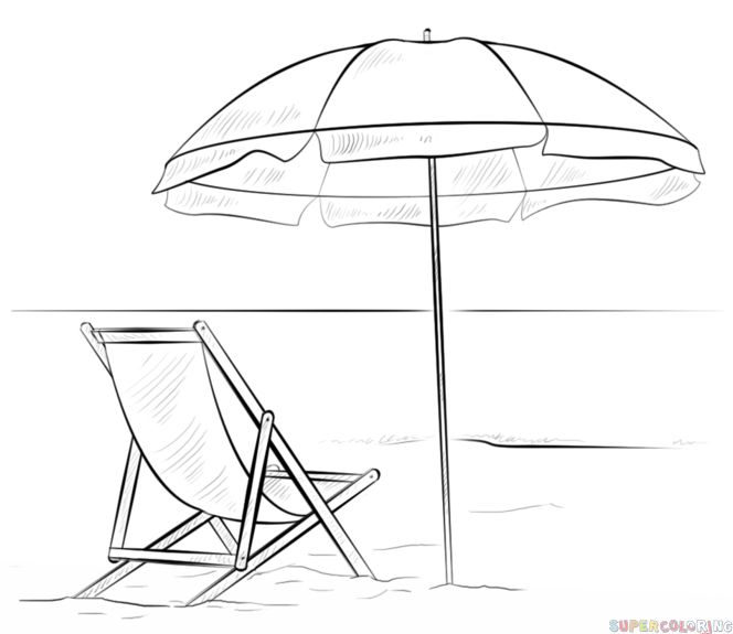 How to draw a beach scene step by step. Drawing tutorials for kids and beginners.