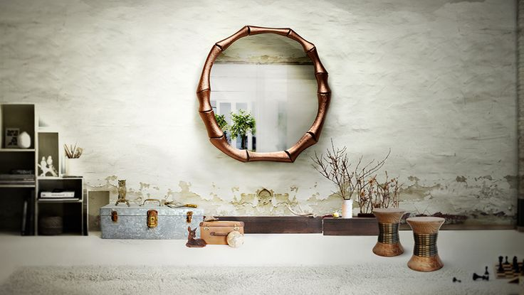 Decorating with brass accents #homedecor #interiordesign #brassaccents See more at: HAIKU Mirror http://brabbu.com/accessories/haiku.html PADAUNG Stool http://brabbu.com/casegoods/padaung.html