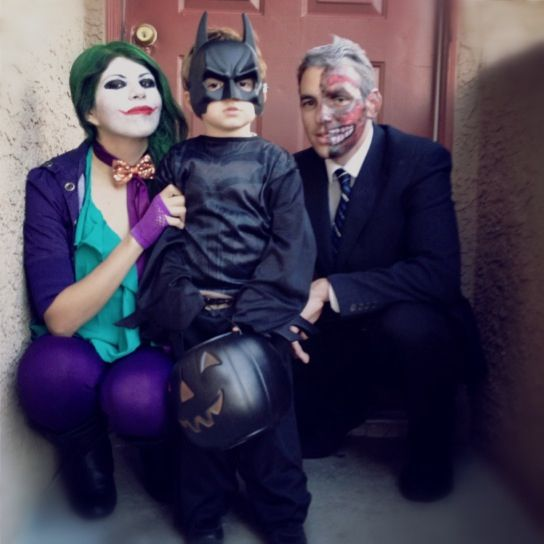 Batman and villains | 32 Family Halloween Costumes That Will Make You Want To Have Kids... @Macey I don't know about you & John but you can TOTALLY expect me & my future husband/kids to be doing cute Halloween family customes!!! Ahhh I can't wait!!