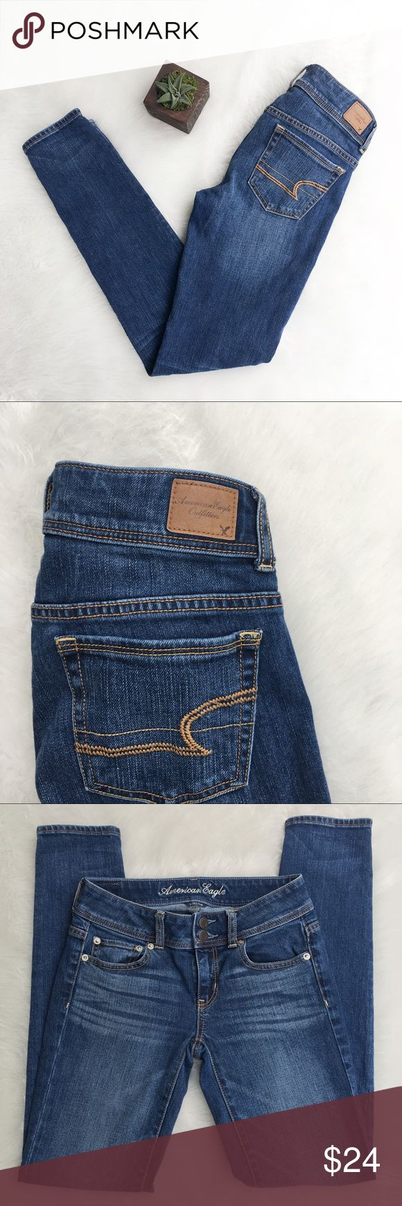 🆕American Jean Skinny Jeans American Eagle skinny jeans. Size 00. Apporoximate measurements are 27' waist & 30' inseam. These have the double button with zipper. EUC. ❌No trades ❌ Modeling ❌No PayPal or off Posh transactions ❤️ I 💕Bundles ❤️Reasonable Offers PLEASE ❤️ Bundle & SAVE❗️❗️ American Eagle Outfitters Jeans Skinny