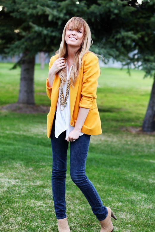 mustard blazerLight Pink Blazers, Skinny Jeans, Style, Outfit, Colors Blazers, Yellow Jackets, Bright Colors, Mustard Yellow, Yellow Blazers