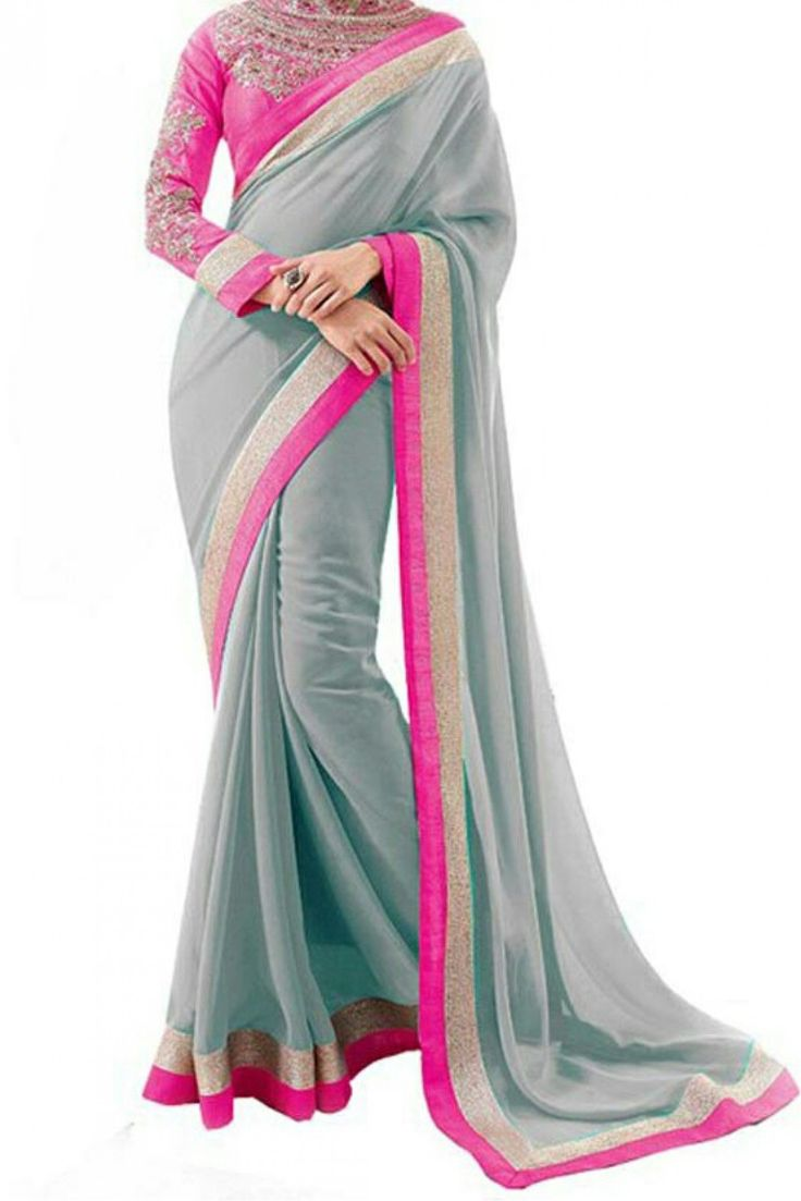 Georgette Casual Wear Saree in Grey Colour .It comes with matching Blouse.It is crafted with Lace Work...