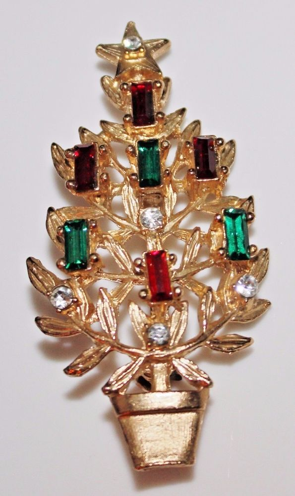 Classic Vintage Rhinestone Christmas Tree Brooch - Baguette Rhinestone Candles