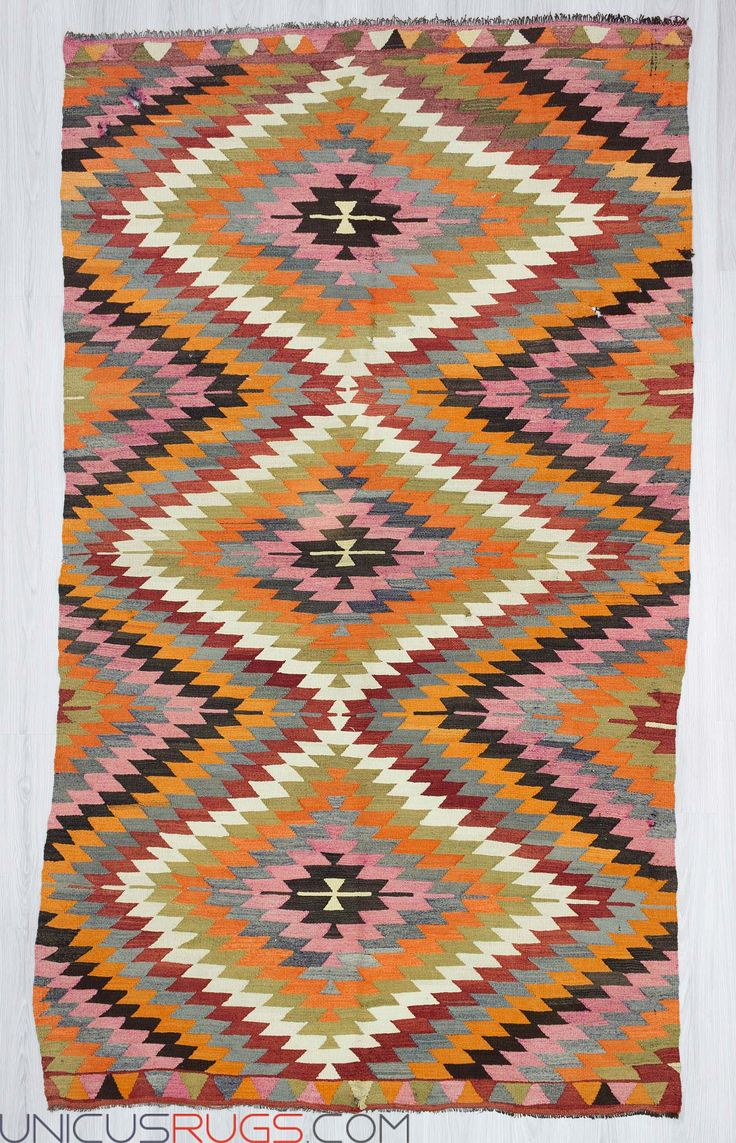 "Handwoven vintage decorative colourful Turkish kilim rug from Denizli region of Turkey. In very good condition. Approximately 45-55 years old. Wool on wool Width: 5' 7"" - Length: 9' 7""  Colorful Kilims"