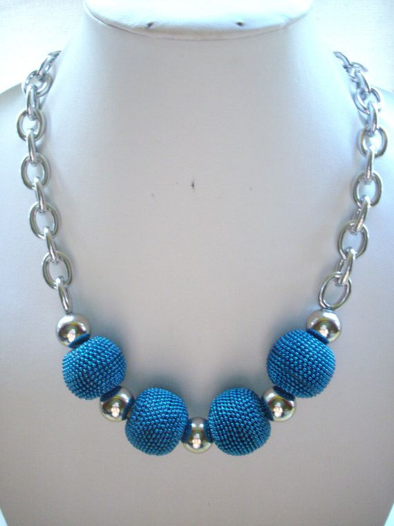 Chunky Teal Blue Beaded Beads with Large by DesignsbyPattiLynn, $50.00