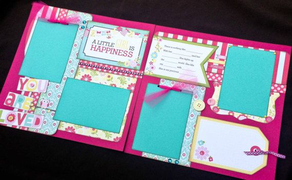 12x12 Scrapbook Page Girl Themed Kit .A Little Girl Is Happiness. DIY Kit or Pre-Made Double Page Layout. Echo Park Sweet Girl