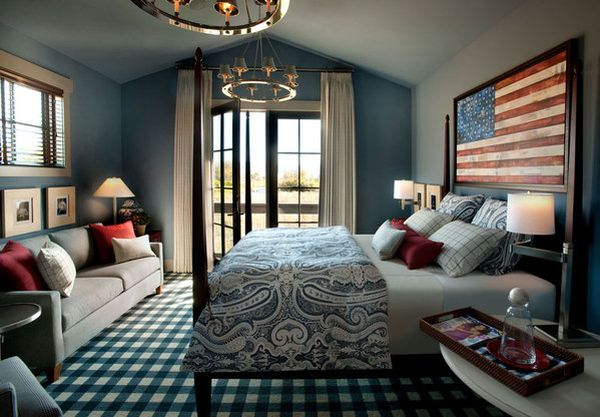 Love this idea for a teenaged/college graduate male's room.  Allows seating space for guests in the room  while also having a fashionable & clean, masculine, flair....