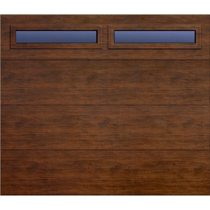 Martin Garage Doors Wood Collection Summit 8 ft. x 7 ft. Flush Panel Walnut Woodgrain R8 Insulation Full View Clear Windows Garage Door-HDIY-000406 at The Home Depot
