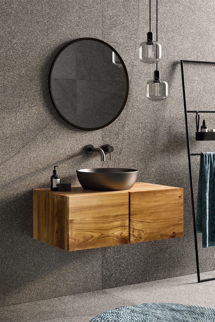 Badezimmer rustikal einrichten Waschtisch Untersch…