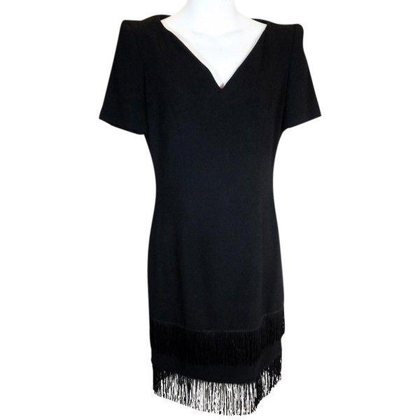 Pre-owned Escada Margaretha Ley Vintage Tassel Hem Cocktail Dress (280 CAD) ❤ liked on Polyvore featuring dresses, black, cocktail dresses, gatsby dress, flapper dress, gatsby cocktail dress and vintage style flapper dresses