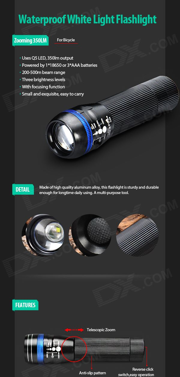 Zooming 350LM 1-LED 3-Mode Waterproof White Flashlight for Bicycle - Free Shipping - DealExtreme