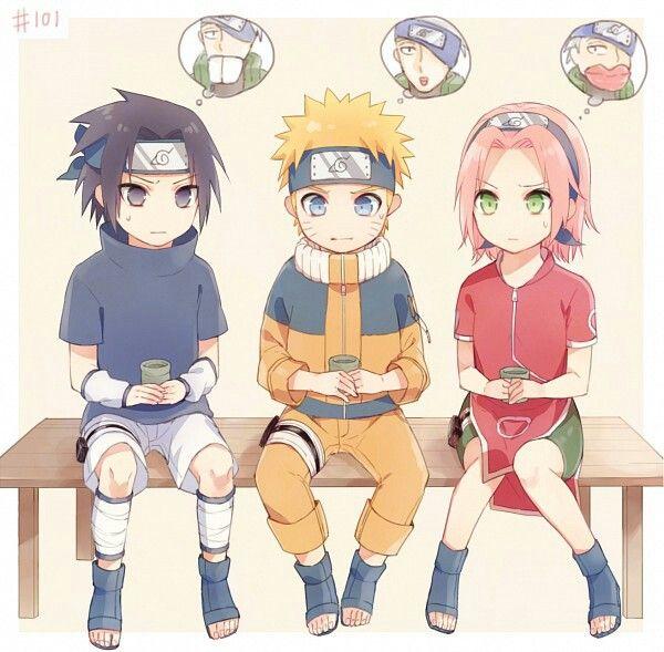 Team 7, Kakashi's mask, unmasked, Sasuke, Naruto, Sakura, cute, tea; Naruto