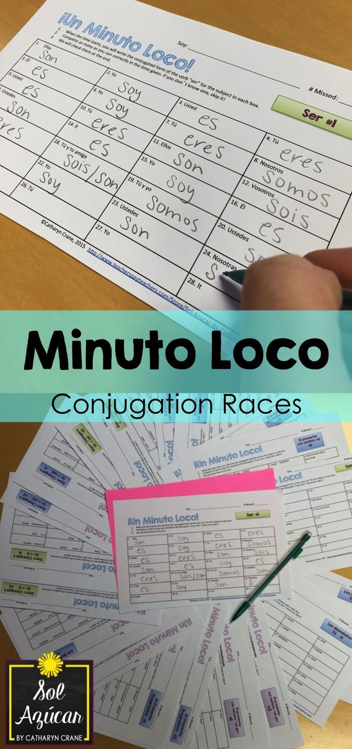 Minuto Loco Conjugation Drill Races - By Sol Azúcar