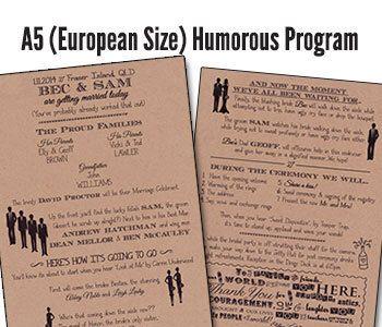 Funny Wedding Program Humorous Wedding Program Unique Wedding Program Funny Humorous A5 (European Sized) Qty. 50 by PAPELCustomDESIGN on Etsy https://www.etsy.com/listing/270930546/funny-wedding-program-humorous-wedding