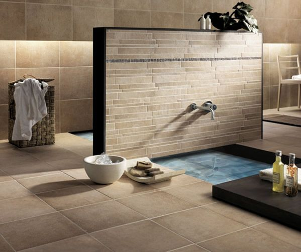 Nice Bathroom With A Touch Of Earth Colors On Tiles